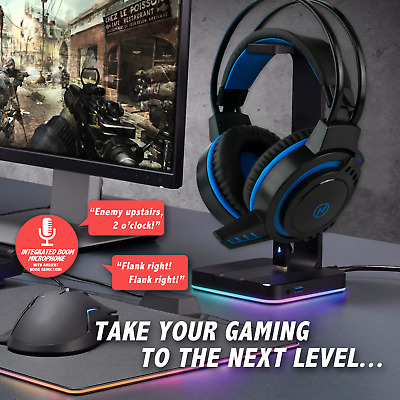 USB GAMING HEADSET With MICROPHONE |  Built-in Mic Volume Control PC Skype Zoom • 14.99£