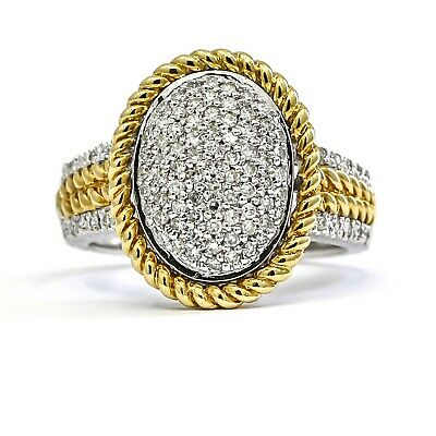$760 • Buy Pave Diamond Oval Cocktail Ring In 14k Yellow And White Gold ( 1.00 Ct Tw )