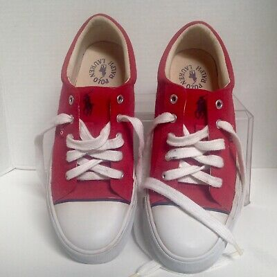 $26.40 • Buy Vintage RALPH LAUREN Polo Womens  7B Tennis Red White Sneakers Shoes - Pony
