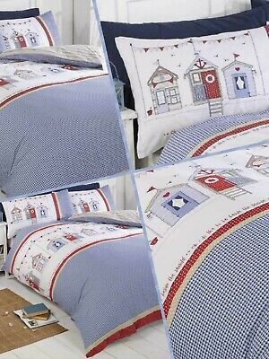 Bedding Heaven® REVERSIBLE BEACH HUT DUVET COVER SET. SEASIDE, RED, WHITE, BLUE. • 18.99£