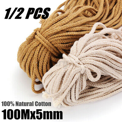 AU13.99 • Buy 1/2X 5mm Macrame Rope Natural Cotton Beige Twisted Cord Artisans Hand Craft 100M