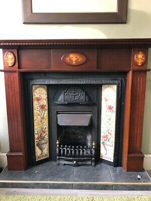 Victorian Style Reproduction Cast Iron Fireplace And Surround With Ornate Tiles • 50£