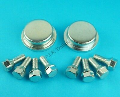 2 X 64mm Wheel Hub Caps & 8 X Wheel Bolts For Ifor Williams P6e P7e P8e Trailer • 21.50£