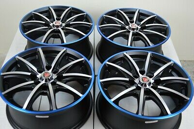 $479 • Buy 4 New DDR I3 15x6.5 4x100/114.3 40mm Black/Polished/Blue Ring Wheels Rims