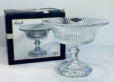 $20 • Buy Godinger Crystal Footed Bowl ~ Shannon Cherish Linear Clear Vertical Line Flare