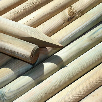 1.8 METRES X 50mm MACHINED ROUND POINTED GARDEN TIMBER FENCE POST TREE STAKES • 7.99£