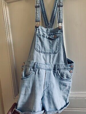 H&M Girls Pale Blue Denim Dungarees Shorts Age 11_12 Years • 16.99£