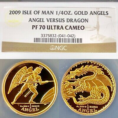 $1400 • Buy 2009 Gold Isle Of Man Angel Vs Dragon Set • Pf70 Ngc 2 Proof 1/4 Oz .9999 Coins!