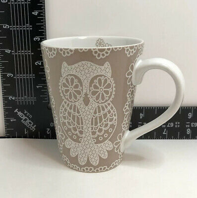 $9 • Buy Owl Mug Ceramic Lace Outline On Beige By Roscher Lace Owl Collection