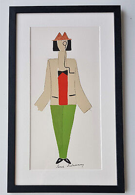 Sonia Delaunay-Lithograph-Hand Signed-1977-Tristan Tzara Avec Monocle-with COA • 550.20£