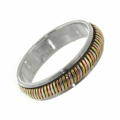 Sterling Silver Ring: Simple Spinning 'Meditation' Ring With Silver, Brass An... • 26.40£