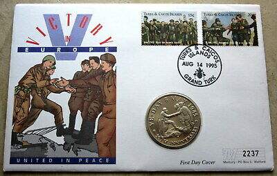 AU12.08 • Buy TURKS & CAICOS 1995 5 CROWNS VE-DAY 50th ANNIV, MEETING ON ELBE, BU COIN COVER
