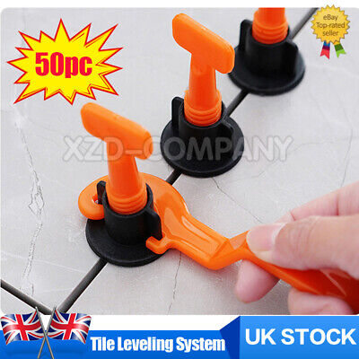 UK Tile Leveling System Kits Leveler Tile Spacer Wall Floor Tool Constructio 50x • 9.99£