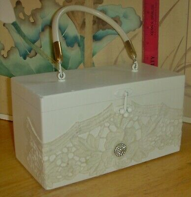 $28 • Buy Collins Of Texas Box Bag, Ivory Colored Wood With Lace & Jewel