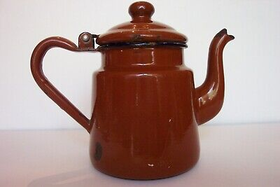 $15 • Buy Vintage Tea Pot Brown Enamel Hinged Lid 8 Oz Size Old Design With Straight Sides