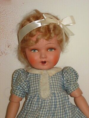 """$35 • Buy Vintage 15"""" Painted Face Composition Girl Doll, Belgium TLC"""