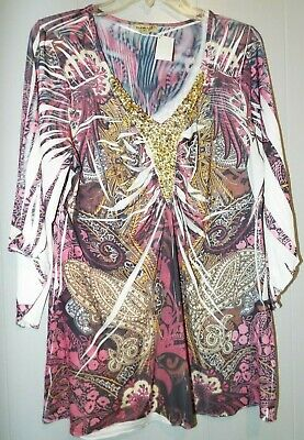 $8.99 • Buy One World Live And Let Live Slinky Tunic Top Sequin Neckline 3/4 Sleeves XL