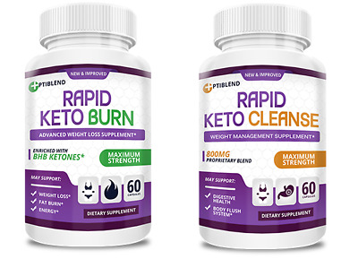 $54.99 • Buy RAPID KETO BURN & RAPID KETO CLEANSE - Weight Loss Support -  FREE SHIP