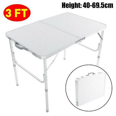 Folding Picnic Camping Table 3 FT Lightweight Aluminum Portable BBQ Outdoor Desk • 25.99£