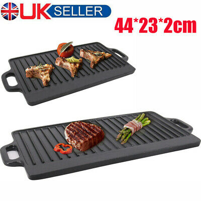 Reversible Pan Non Stick Cast Iron Griddle Pan Skillet Plate Hob Stove BBQ Grill • 25.67£