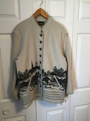 $29.99 • Buy Geiger Vtg Women's 38 Beige Village Scene Cardigan Boiled Wool EUC