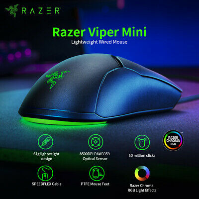 AU69.57 • Buy Razer Viper Mini 61g Lightweight Wired Mouse 8500DPI PAW3359 Optical Sensor Y5M8
