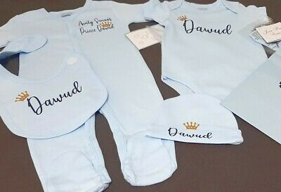 £24 • Buy Personalised Baby Boys Clothes Sleepsuit Bodysuit Mitts Hat Bib Gift 0-3 Months