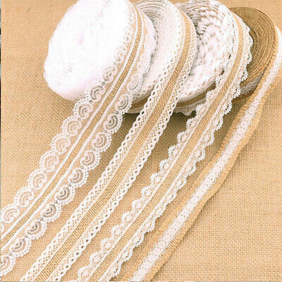 Burlap Roll Lace Ribbon Jute Burlap Wedding Party Decor Hessian Lace Home • 2.40£