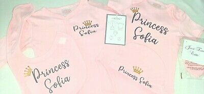£24 • Buy Personalised Baby Girls Clothes Sleepsuit Bodysuit Mitts Hat Bib Gift 0-3 Months