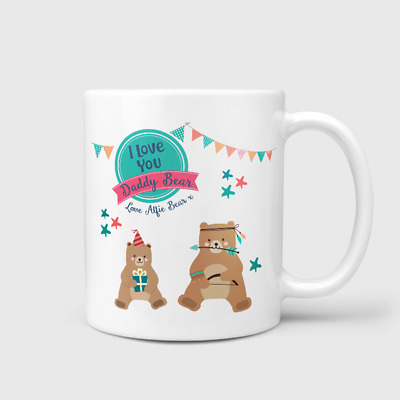 Personalised I Love You Daddy Bear Mug Cup Gift Happy First Father's Day Gift • 6.99£