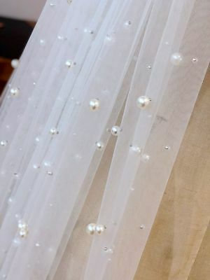 1 Tier Cathedral Royal Crystal Pearl Wedding Bridal Veil With Pearl Ivory 3m • 21.99£