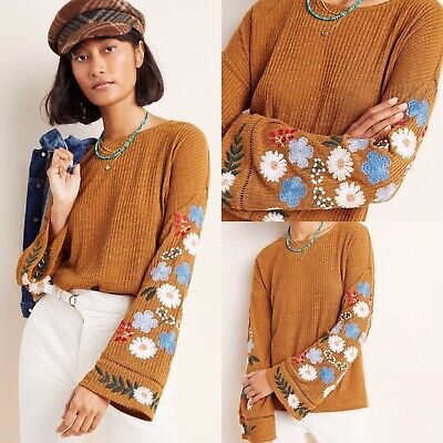$ CDN63.96 • Buy NWT Anthropologie Isla Maude Embroidered Sweater Size XS Floral Bell Sleeves D2
