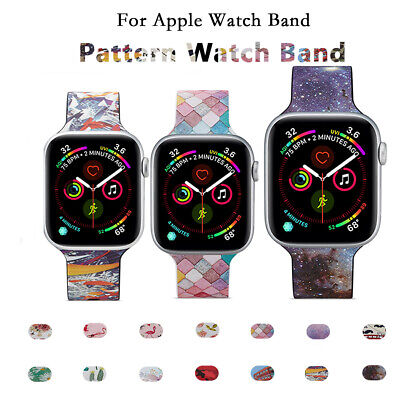 AU13.99 • Buy For Apple Watch Band Series 5 4 3 2 1 Pattern Silicone IWatch Sport Strap Band