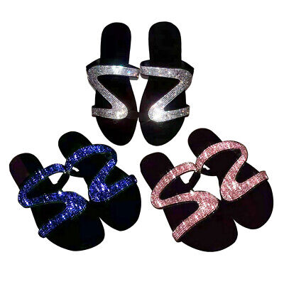 Fancy Women Slippers Sandals Open Toe Rhinestone Flat Roman Diamond Shoes • 8.09£