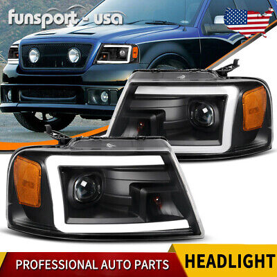 $256.49 • Buy For 04-08 Ford F-150 F150 [led Drl] Black Projector Headlights Clear Side Lamps