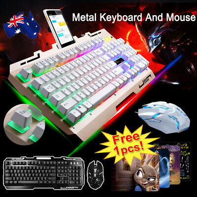 AU27.99 • Buy T6 Gaming Keyboard Mouse Set Rainbow Backlight Usb Ergonomic For PC Laptop +Gift