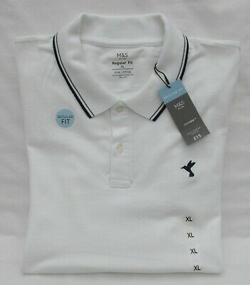 Men's Marks & Spencer White Cool Comfort Polo Shirt With Navy Trim Size Xl • 7.99£