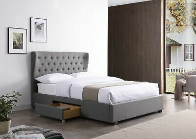 Grey Fabric KIng Size Bed 5ft Storage Drawers Large Buttoned Winged Headboard • 299£