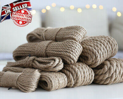 Natural Jute 4-20mm Hessian Rope Twisted Decking Cord Garden Boat Sash Camping  • 10.90£