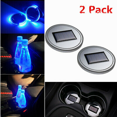 $13.77 • Buy 2Pc Solar Cup Pad Car Accessories LED Light Cover Interior Decoration Lights US