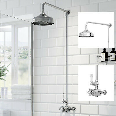 Traditional Thermostatic Mixer Shower Set Round Chrome Crosshead Exposed Valve • 139.99£