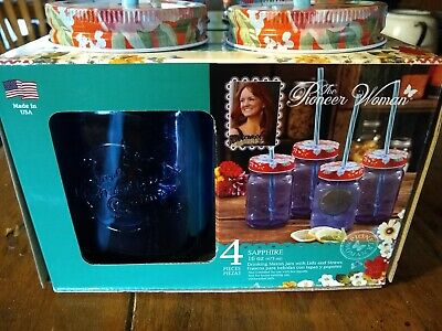 Pioneer Woman Sapphire Blue Mason Jar 16oz Glasses With Lids And Straws Set Of 4 • 23.15£