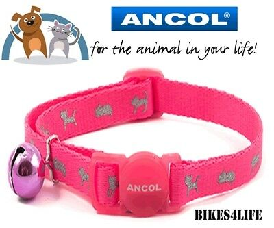 Ancol Cat  Kitten Collar Safety Buckle & Warning Bell Hi-Vis Reflective Pink • 2.95£