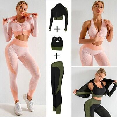 3 Pieces Yoga Set Women Fitness Workout Suit Gym Suit Sport Leggings Crop Top UK • 6.69£