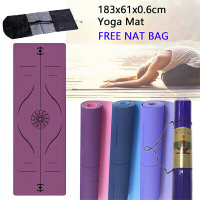 AU30.59 • Buy Yoga Mat Pad TPE Nonslip Exercise Fitness Pilate Gym Durable Dual Layer