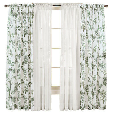 $7.99 • Buy Whispering Park Tree Pattern Sheer Privacy Rod Pocket Window Curtain Panel