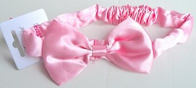 NEW Pink Satin Fabric With Bow Headband Bandeaux Childrens Girls • 2.49£
