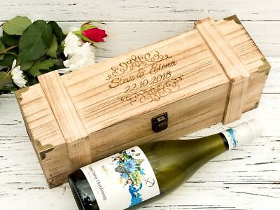 Personalised Wine Gift Box  Engraved Wooden Chest Champagne Chest Style • 13.95£