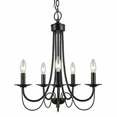 £97.18 • Buy LALUZ Black Chandelier Farmhouse Small 5-Light Fixture With 2-Layer For Dinin...