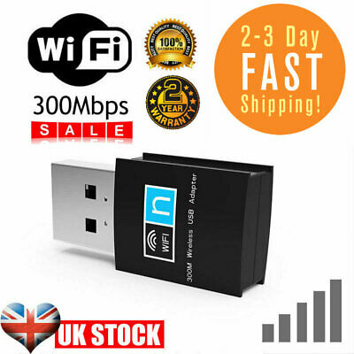 £3.49 • Buy USB WiFi Dongle 300Mbps   Wireless Network Adapter 802.11 B/G/N For Laptop PC UK